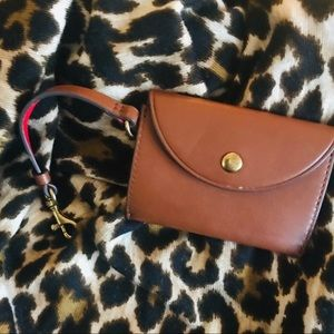 J.Crew 4x3 brown leather pursette NWOT